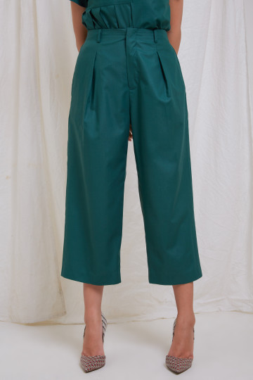 Green Clo Wide Leg Ankle Pants