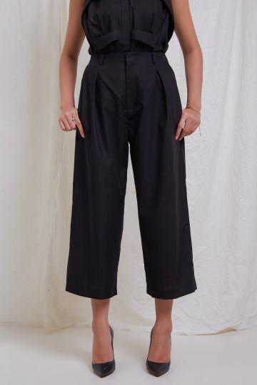 Black Clo Wide Leg Ankle Pants