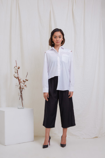 White Long Sleeve Asymetric Shirt