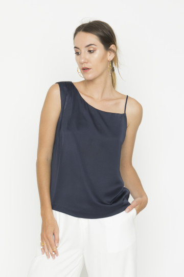 Navy Wave Top