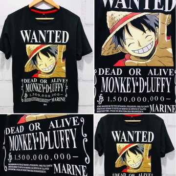 Kaos Luffy Wanted 1,5 Milyarberry Black image