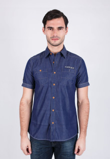 Slim Fit - Fashion Shirt - Dark Blue Denim - Short Sleeve