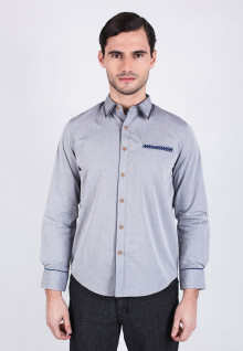 Slim fit - Casual Active - Gray blue Chambray shirt