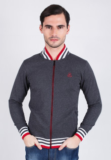Slim Fit - Sweater - Dark Gray Sweater Red Collar
