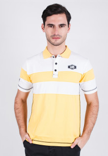 Slim Fit - Polo Shirt - Yellow/White - Color Striped