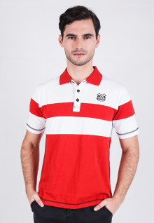 Slim Fit - Polo Shirt - Red/White - Color Striped