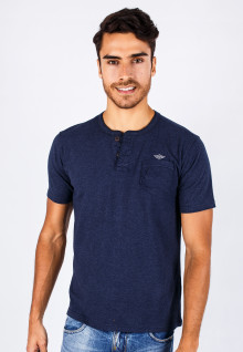 Slim Fit - Henley - Blue Navy