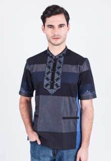 Baju Koko - Black/Gray/Blue - Short Sleeve - Slim Fit