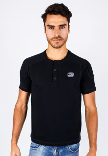Slim Fit- Henley - Black