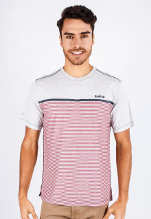 Regular Fit - Stripe Tee - Red/Gray