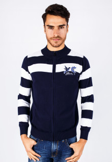 Slim Fit - Sweater - White/Blue Navy - Color Striped