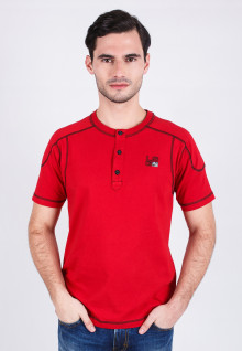 Slim Fit - Henley - Red