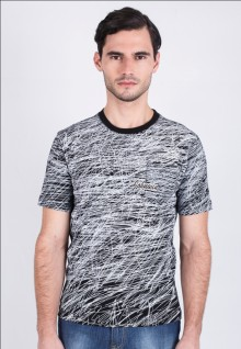 Slim Fit - Printed Tee - Black - Stripe