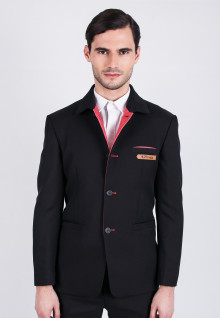 Slim Fit - Fancy Suits - Black - Red Lining