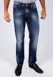 Slim Fit - Jeans - Dark Blue - Aksen Washed - Whisker