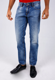 Slim Fit - Jeans - Aksen Washed - Whisker - Blue