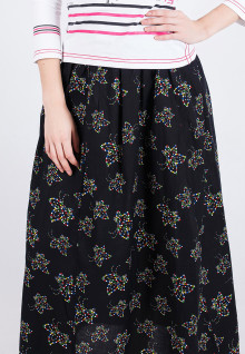 Long Skirt - Black - Flower