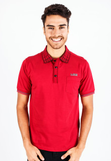 Regular Fit - Polo Shirt - Red - Plaid Collar