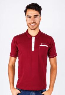 Slim Fit - Kaos Polo - Merah - Kancing Putih