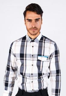 Slim Fit - Formal Shirt - White/Gray - Long Sleeve - Plaid Shirt