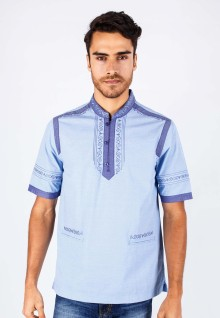 Baju Koko - Blue - Short Sleeve - Purple Motif - Slim Fit