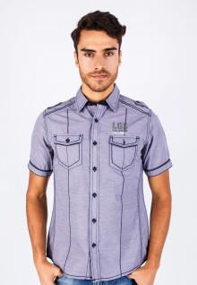 Slim Fit - Fashion Shirt - Purple - Short Sleeve
