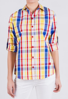Regular Fit - Kemeja Wanita - Kuning/Biru/Merah - Plaid Shirt