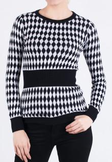 Regular Fit - Ladies T-Shirt - Black/White - Gingham