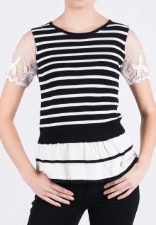 Regular Fit - Ladies T-Shirt - Black/White - transparent Sleeve