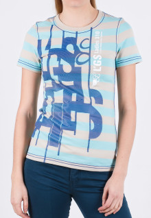 Regular Fit - Ladies T-Shirt - Blue - Striped - Printed Tee