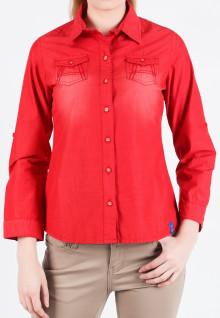 Regular Fit - Kemeja Wanita - Merah - Lengan Panjang