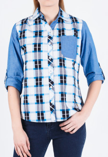 Regular Fit - Ladies Shirt - Blue/White - Gingham