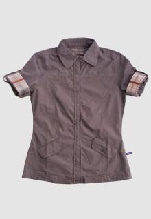 Regular Fit - Ladies Shirt - Brown - Short Sleeve