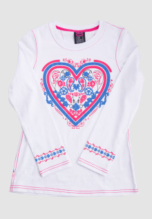 Regular Fit - Ladirs T-Shirt - White - Heart