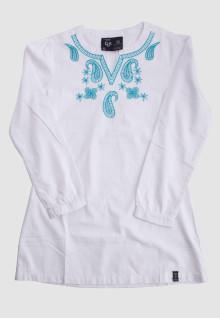 Regular Fit - Ladies Koko - White - Long Sleeve - Blue Motif