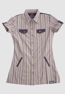 Regular Fit - Ladies Shirt - Brown/Khakis - Short Sleeve