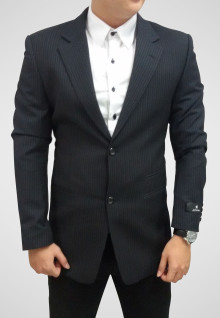 Regular Fit - Formal Suits - Black - Motif Salur