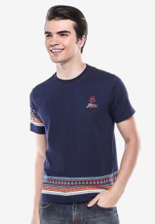 Slim Fit - Kaos Bergambar - Biru - Garis Batik