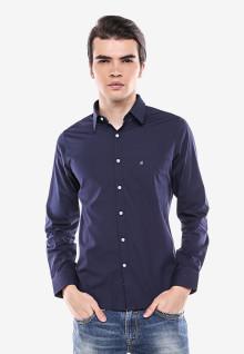 Slim Fit - Kemeja Formal - Biru Violet - Motif Polos - Lengan Panjang