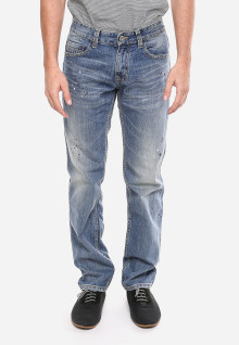 Slim Fit - Jeans Panjang - Biru - Aksen Washed - Corak Warna