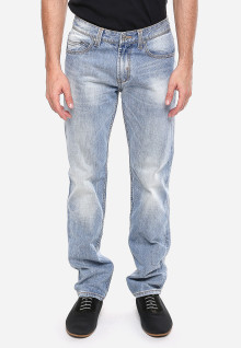 Slim Fit - Jeans Premium - Biru Cerah - Aksen Washed - Whisker