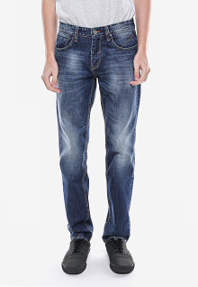 Slim Fit - Jeans Premium - Biru - Aksen Washed - Detail Whisker