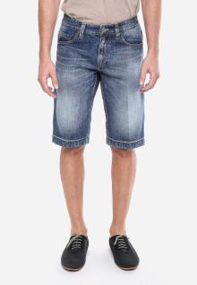 Celana Bermuda - Biru Jeans - Whisker - Aksen Washed