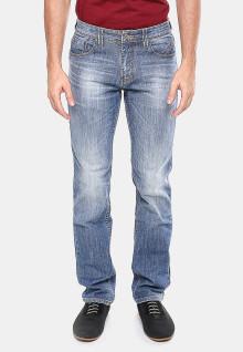 Slim Fit - Jeans Panjang - Biru Abu - Whisker - Aksen Washed
