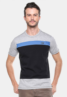 Slim Fit - Kaos Casual - Hitam/Abu - Warna Double