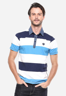 Slim Fit - Kaos Polo - Biru/Putih - Motif Garis