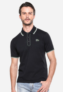 Slim Fit - Kaos Polo - Hitam - Garis Hijau Putih