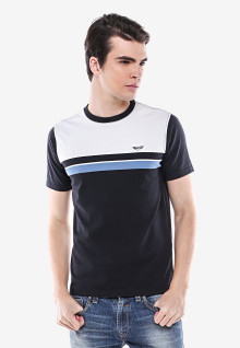 Slim Fit - Kaos Casual - Hitam Putih - Garis Biru