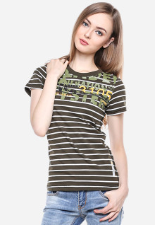 Regular Fit - Kaos Wanita - Coklat - Garis Salur