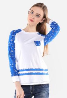Regular Fit - Kaos Wanita - Putih - Lengan Biru